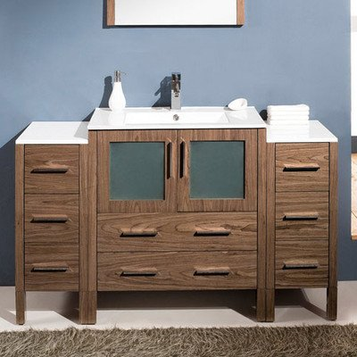 """Torino 54"""" Modern Bathroom Vanity With 2 Side Cabinets And Undermount Sink"""