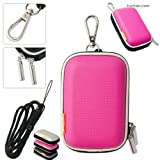 New first2savvv outdoor heavy duty pink camera case for Nikon COOLPIX S6800 with black camera hand strap