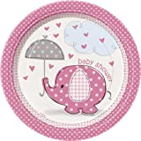 Baby Shower Umbrellaphants Pink Small Paper Plates - Pack of 8