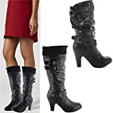 New Womens Ladies Mid Heel Calf Knee High Zip Black Leather Style Boots Shoes Size