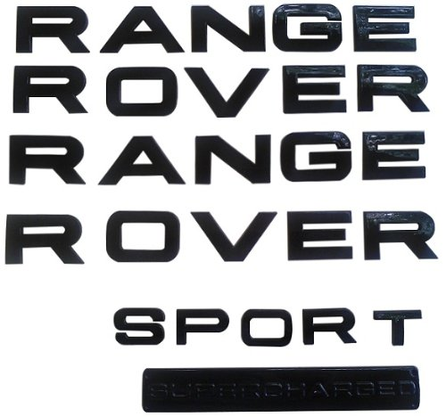 RC Trading gloss black emblem letters badge insignia fits Range Rover Sport Supercharged 2006-2013 front and back (Black Range Rover Letters compare prices)