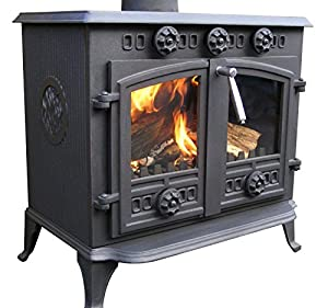 12kw fireplace cast iron log multifuel wood coal burning stove high