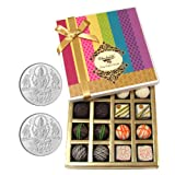Chocholik Belgium Chocolates - Assorted White And Dark Truffle And Chocolate Gift Box With 5gm X 2 Pure Silver...