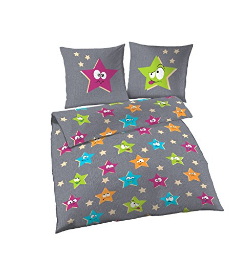 Biancheria da letto, 2 pezzi, Soma, flanella, 135 x 200 cm/80 x 80 cm, motivo: stelle