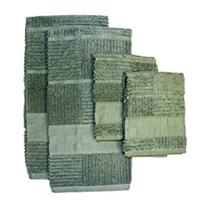 Ritz Gourmet Collection Egyptian Cotton 4-Piece Kitchen Towel and Dish Cloth Set, Moss Green