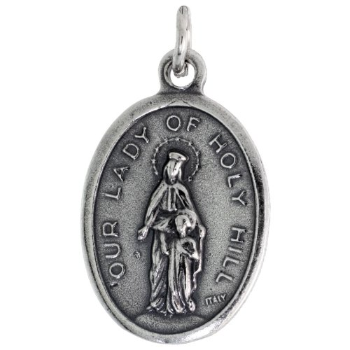 Sterling Silver Our Lady of Holy Hill Oval-shaped Medal Pendant, 7/8 inch (23 mm) tall