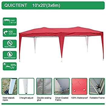 Quictent Pop Up Canopy 10x20 Feet Party tent Carport Beach Gazebo Heavy duty Height Adjustable Waterproof-5 Colors (Red)