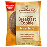 Erin Baker's Breakfast Cookies Peanut Butter, 3-Ounce Individually Wrapped Cookies (Pack of 12)