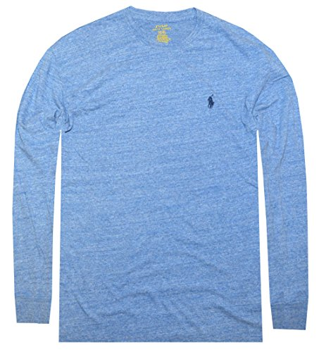 Polo Ralph Lauren Men Long Sleeve Pony Logo T-Shirt (Medium, Blue Heather)