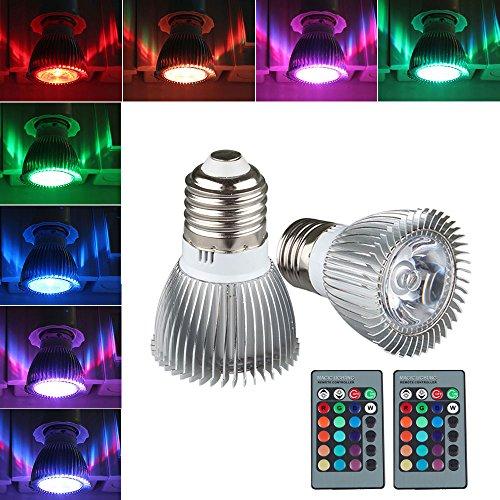 Grde™ 2 Pack Ceiling Bulb 3W Rgb E27 Led Bulb Lamp Spot Light 16 Color Changing + Ir Control