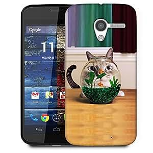 Snoogg Fish Tank Cat Designer Protective Back Case Cover For Motorola Moto X