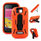 For BLU Dash JR 4.0 K D143k Premium Rugged Heavy Duty Case Kickstand Perfect FIT Many Colors Available (Orange on Black)