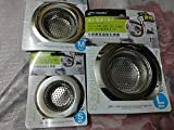 3 PCS-Stainless Steel Sink Strainer Kitchen Drain Basin Basket Filter Stopper(S M L)