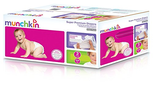 buy Munchkin Super Premium Diapers, Size 3/Medium Ultra (16-28 Pounds), 104 Count for sale