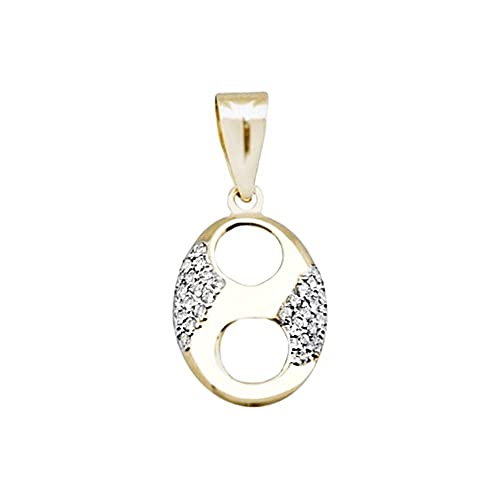 18k gold pendant bicolor calabrote links zircons [AA4778]