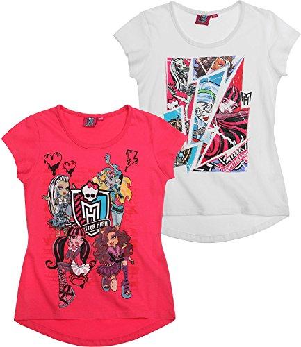 Monster High Ragazze T-Shirt pacco da 2 - bianco - 140