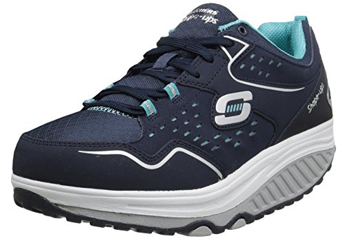 Skechers Women`s Shape Ups Everyday Comfort Fashion Sneaker, Navy/Light Blue, 9 M US