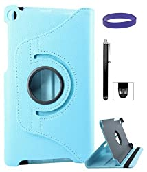 DMG Full 360 Rotating Stand Cover Case for ASUS Google Nexus 7 2013 Edition with Stylus +DMG Wristband -Blue