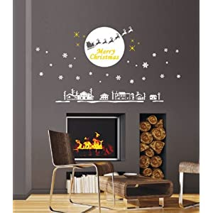 Jiniy White CHRISTMAS New Year Wall Sticker Art Decor Mural Decal (JPSC60029)