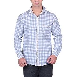Cotblend Men's Casual Shirt (CB-CTNPRNT-Light Blue-XL, Blue, XL)