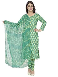 Pinkshink Green Block Printed Salwar Kameez Dress Material k83