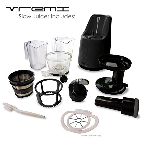 vREMI Slow Juicer (BLACK) - Live Clean & Green with Delicious & Natural Juices Pressed Fresh ...