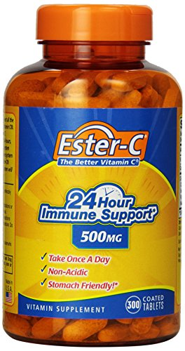 Ester-C 24 Hour Immune Support 500 mg Non-acidic Stomach Friendly, Coated Tablets, 300-Count