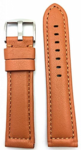 24Mm Long, Brown, Panerai Style, Smooth Soft Leather Watch Band