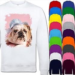 Bull Dog In Summer Hat Unisex Adult Sweatshirt Sizes XS, S, M, L, XL, 2XL, 3XL