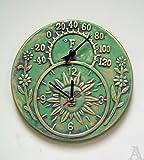 Outdoor Terra Cotta Green Temperature Weather Clock