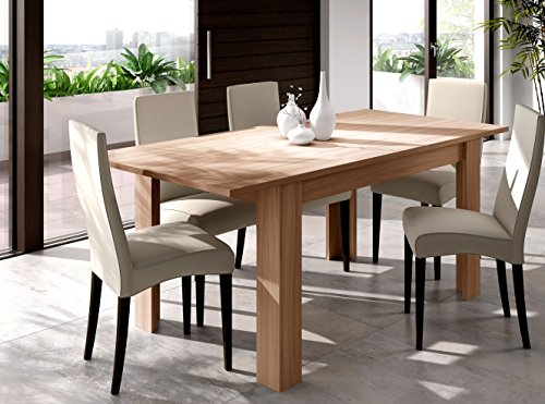 Mesa extensible para comedor o cocina en color nature, 90x140-190cm ...