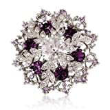 Brooch Gift For Her - 14k Gold Silver Tone Purple Crystal Swarovski Elements Diamante Snowflake Brooch Gift Boxed