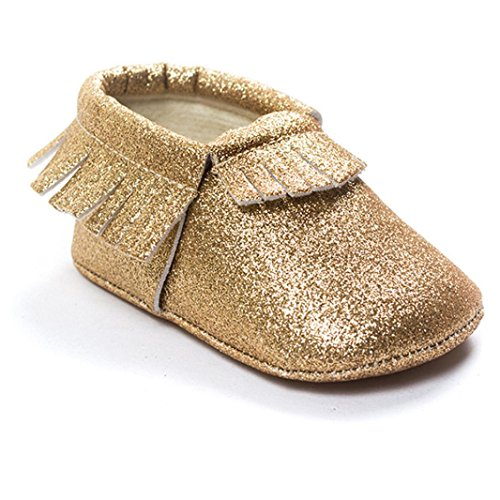 Voberry® Baby Girls Soft Soled Tassel bling bling Sequins Crib Shoes PU Moccasins Sneakers ( 0~4 Month, Gold)