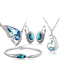 Shining Diva Blue Crystal 18K Gold Plated Combo Of Two Pendant Necklace Set With Earrings And Bracelet For Girls