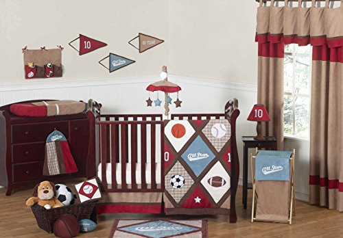 Sweet Jojo Designs All Star Sports Red, Blue and Brown Baby Boy Bedding 11pc Crib Set without bumper