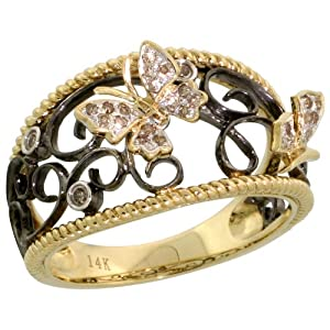 14k Gold Butterfly Ring w/ Black Rhodium Accented Swirls, w/ 0.12 Carat Brilliant Cut Diamonds, 1/2