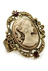 Light Brown Cameo Ring Adjustable Size Band Women Lady Fashion Jewelry