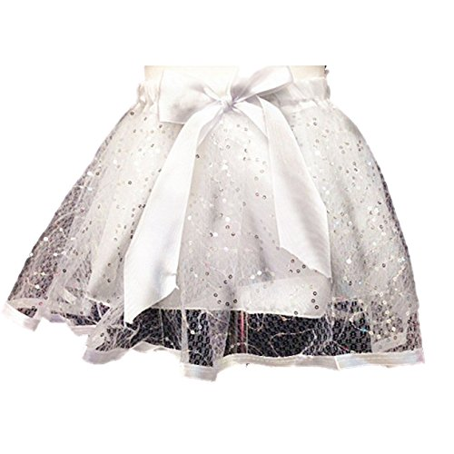 Girls White Sparkling Glittery Tutu with Bow - Ages 3-6