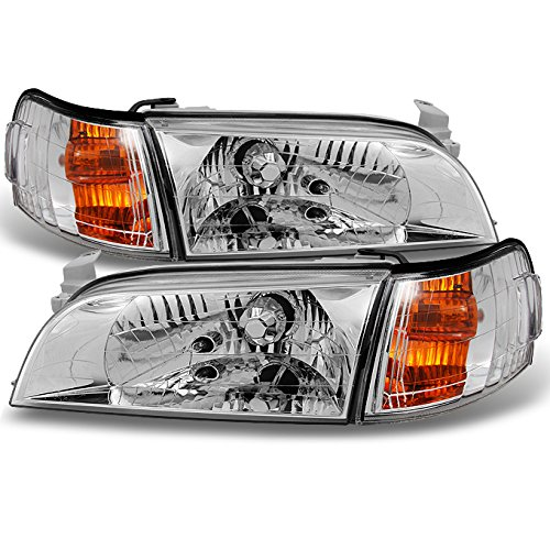 Toyota Corolla JDM Version Chrome Headlights Replacement Pair + Amber Corner Signal Lamps 4pcs Set (Toyota Corolla Wagon Jdm compare prices)