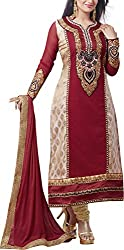 Shree Sai Exports Women's Georgette Unstitched Dress Material (Red)