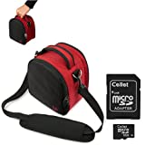 Red Slim Holster Camera Bag Carrying Case Will Easily Hold Your Camera, Battery Charger, Memory Cards, And Accessories For Nikon Coolpix L24 P300 S70 S80 S100 S1100pj S1200pj S2500 S3100 S4100 S5100 S6100 S6200 S8100 S8200 D90 Coolpix Aw100 Coolpix P7000 S9100 Nikon J1 Point And Shoot Digital Camera + Includes E Big Value Determination Hand Strap Key Chain + Includes A 8 Gb Micro Sd Card With Sd Adaptor