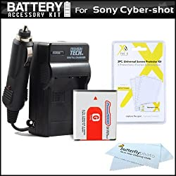 Battery and Charger Kit for Sony Cyber-Shot DSC-HX5V DSC-H55 DSC-WX10 DSC-H70 DSC-HX7V DSC-HX9V DSC-H90 DSC-HX30V DSC-HX20V DSC-HX10V Digital Camera HDR-GW77V Camcorder with Extended Replacement 1350 maH NP-FG1 Battery AC/DC Charger and more