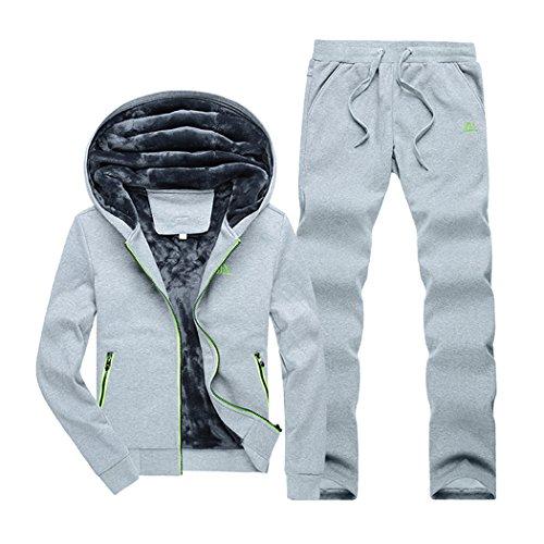 Real Spark(TM) Men Casual Zip Up Cotton Faux Fur Lined Track Suit Hoodie Sweatpants Set Sportswear Grey L