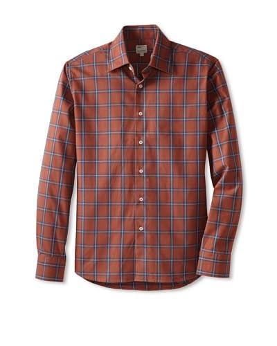 Mason's Men's Long Sleeve Woven Plaid Shirt  [Orange Multi]