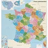 Carte de France administrative - souple | plastifiée | écriture effaçable à sec...