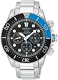 Gents/Mens Seiko Sports Watch Stainless Steel & Black Dial, Solar Powered, Chronograph 200m Water Resistant with Date SSC017P1