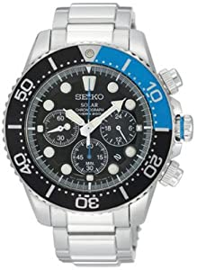 Gents/Mens Seiko Sports Watch Stainless Steel & Black Dial Solar Powered Chronograph 200m Water Resistant Date SSC017P1