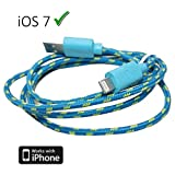 Braided unbreakable 8 Pin Charger and Sync Lead,Cable for Apple iPhone 5,iPad Mini,iPad 4G,iPod Touch 5G,Nano 7G - BLUE