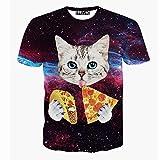 1911NC メンズ 3D 春 夏 ストリート 原宿系 デザイン 綿 コットン ストレッチ サマー モード 動物 t-shirt おもしろ おしゃれ ファッション 柄 プリント 猫はピザを食べています Tシャツ 半袖