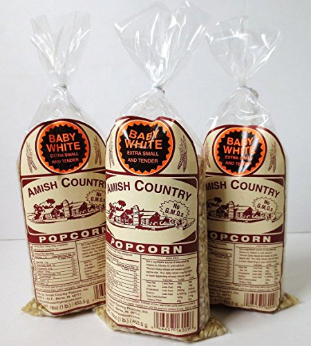 Amish Country Popcorn, Non GMO, 1 Pound Bags (Pack of 3) (Baby White) (Popcorn Baby compare prices)
